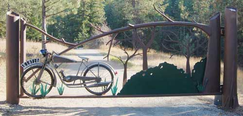 This is the whole completed motorcycle gate