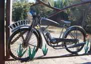 This is the completed motorcycle in the gate